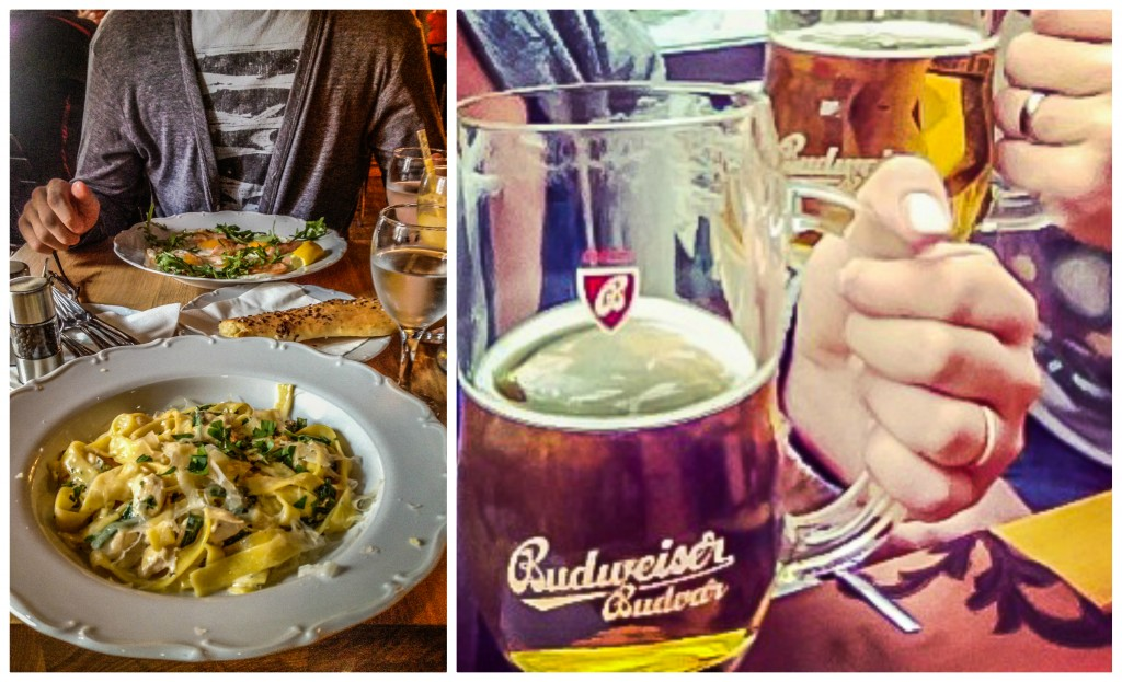 Pasta and beer in Prague, Czech Republic