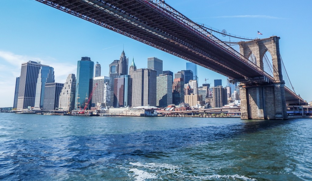 View of lower Manhattan and the Brooklyn Bridge from the Hornblower Hybrid