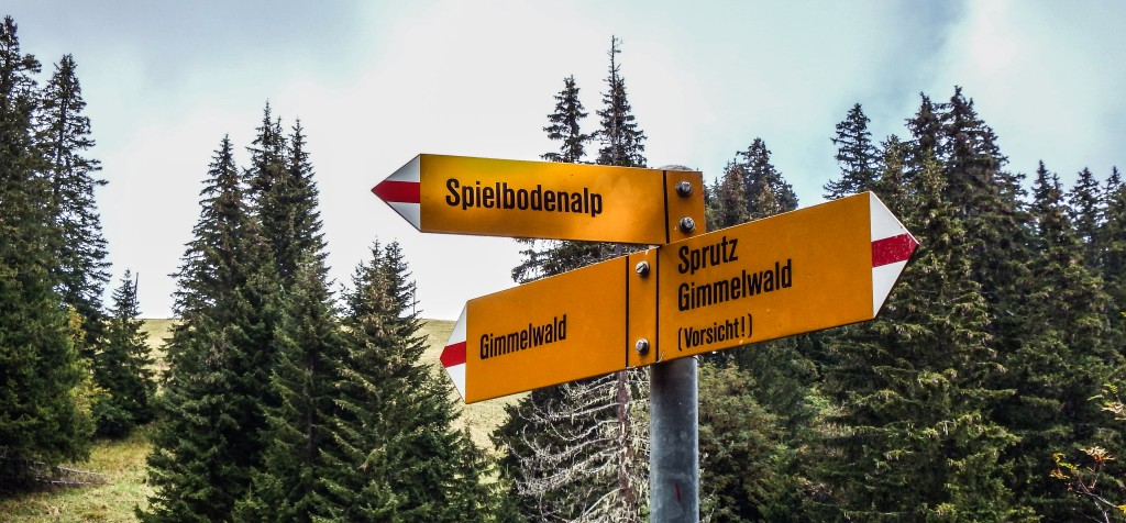 Hiking signs in Gimmelwald, Switzerland