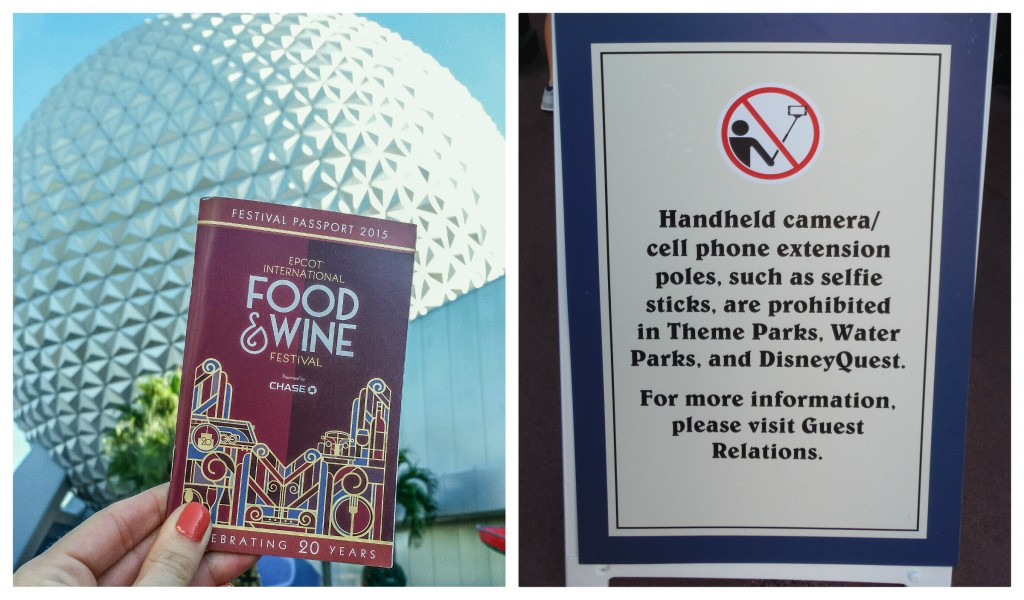 EPCOT Food & Wine Festival passport and no selfie sticks allowed
