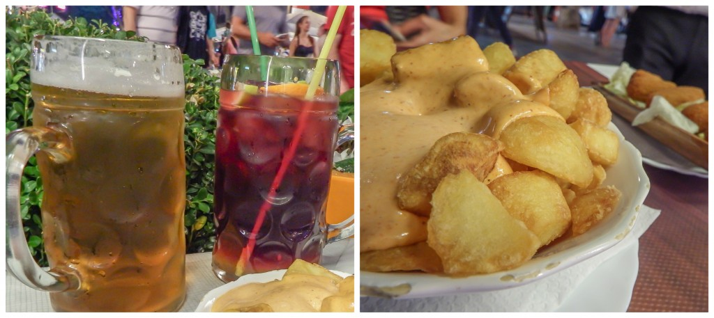 Beer, sangria, and patatas bravas on La Rambla in Barcelona, Spain