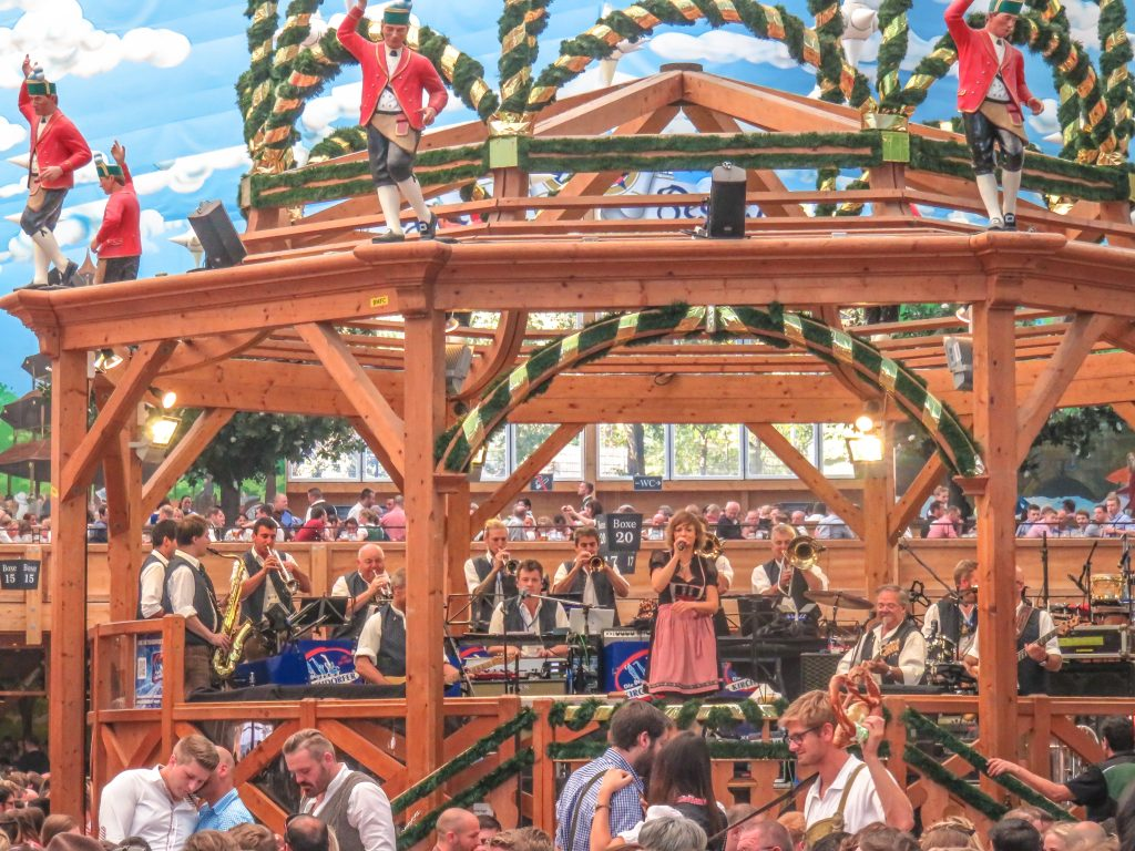 The revolving bandstand in the Hacker-Pschorr tent at Oktoberfest in Munich, Germany