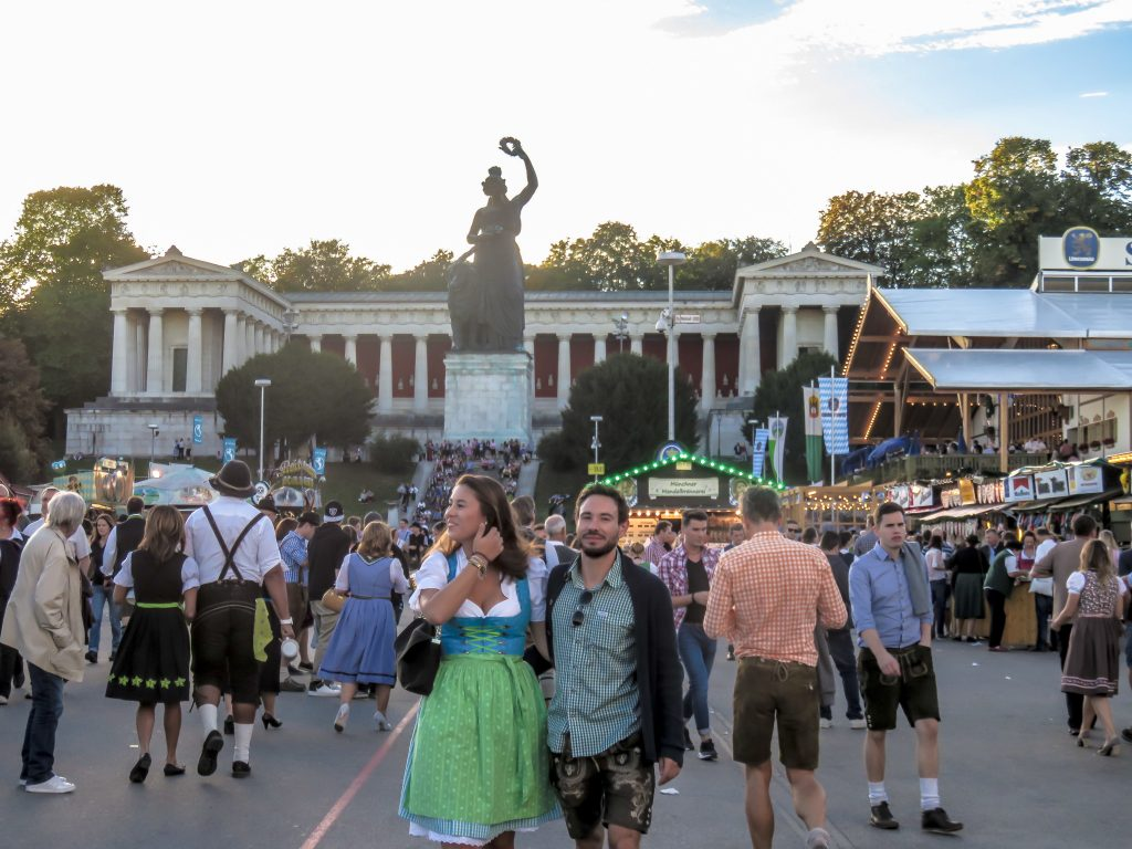 The Bavaria statue at the Theresienwiese at Oktoberfest in Munich, Germany