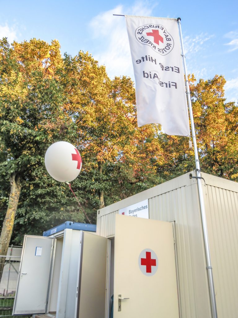 Visiting the first aid tent at Oktoberfest in Munich, Germany