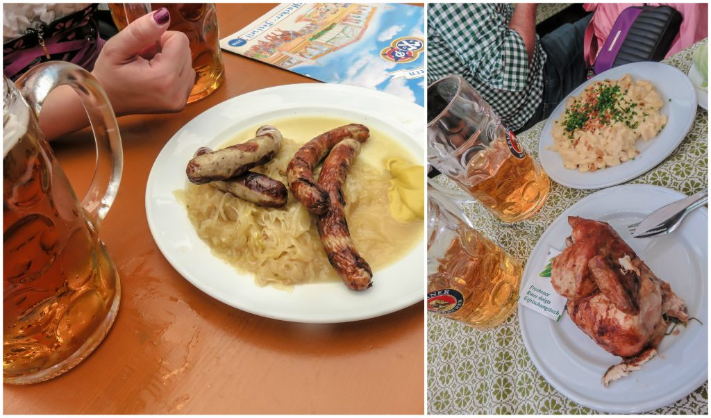 Food and beer in the Hacker-Pschorr tent at Oktoberfest in Munich, Germany