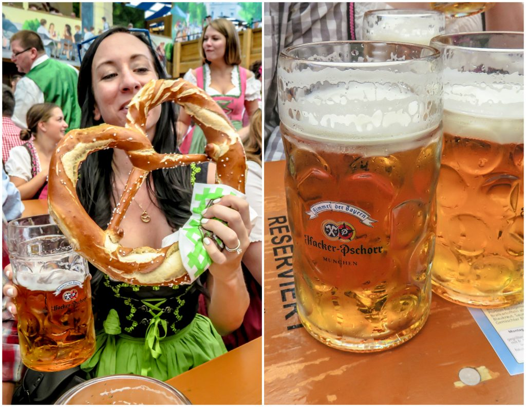 Enjoying beers and a pretzel at the Hacker-Pschorr tent at Oktoberfest in Munich, Germany