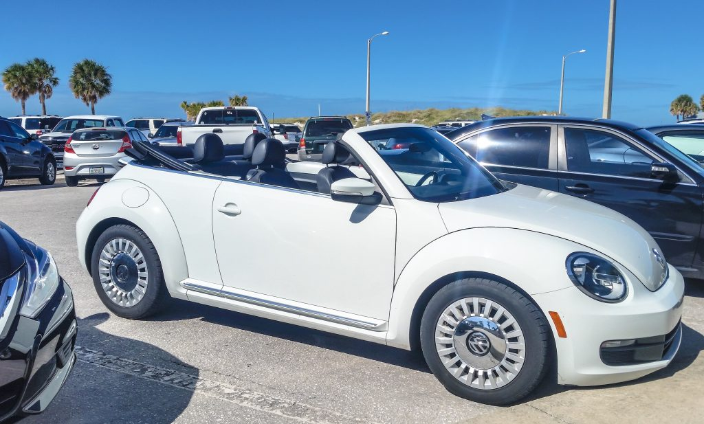Volkswagen Beetle convertible courtesy of E-Z Rent-A-Car in Orlando, Florida