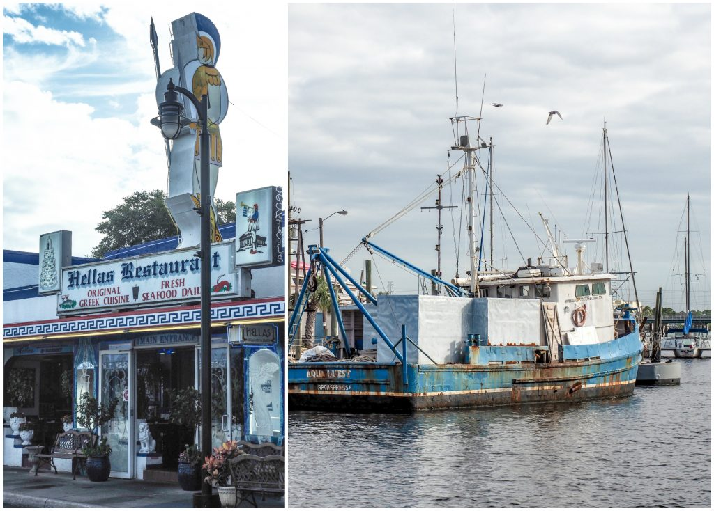Hellas Restaurant and boat at the Sponge Docks in Tarpon Springs, Florida