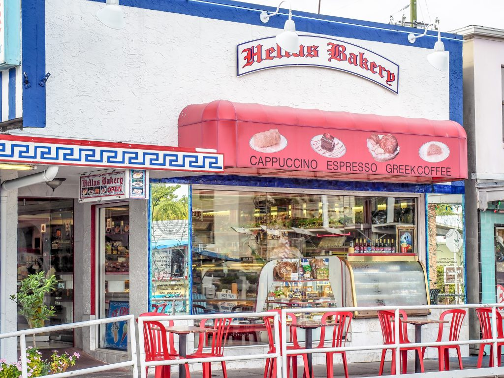 Hellas Restaurant and Bakery at the Sponge Docks in Tarpon Springs, Florida