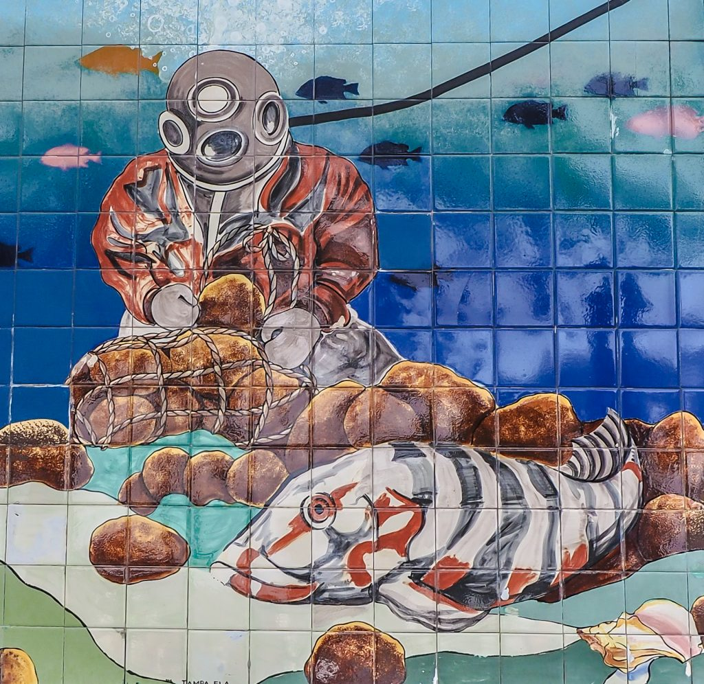 Mural of a sponge diver at the Sponge Docks in Tarpon Springs, Florida