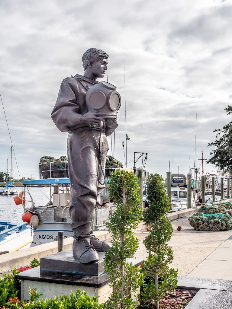 Statue of a sponge diver at the Sponge Docks in Tarpon Springs, Florida